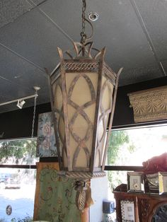 "Chateau indoor/outdoor hanging lamp in rich umber patina  Size 16"" overall height 59"" Reg. price $1575.00  Now just $350.00"