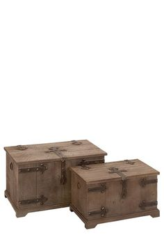 """Rustic Vintage Furniture  Wood Trunks - Set of 2  This beautiful trunk set will add a regal medieval appeal to your home.   - Lift-up top  - Wood finish  - Metal accents  - Set of two  - Imported    Set includes:   - Small: 21"""" L x 13"""" W x 12"""" D  - Large: 26"""" L x 16"""" W x 15"""" D  $399.00"""