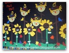 Fall Bulletin board with sunflowers & scarecrows