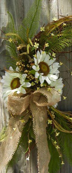 Items similar to Summer Wreath - Sunflower Door Decor - Burlap-Fall Wreath on Etsy Wreath Crafts, Diy Wreath, Burlap Wreath, Burlap Ribbon, Wreath Ideas, Front Door Decor, Wreaths For Front Door, Mesh Wreaths, Holiday Wreaths