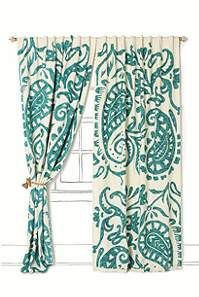 Paisley teal curtains - for my dream turquoise, gray and white dining room.