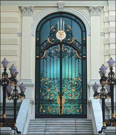Photo about Thai golden door, with blue background. Image of arch, doors, door - 673114 Cool Doors, Unique Doors, Entrance Doors, Doorway, Front Doors, Door Design, House Design, Door Gate, Door Knockers