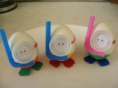 These diver eggs make me laugh. Use a straw, bottle cap glued to a band and cut out foam feet.  SO CUTE!!!!!