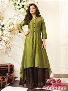 Refresh your wardrobe with this prestigious green & brown modern looking cotton kurti. Latest fancy style embroidery, wing collar & sleeves beautify it. Dress Neck Designs, Kurti Neck Designs, Kurta Designs Women, Blouse Designs, Kurti With Jacket, Indian Attire, Indian Designer Wear, Long Tops, Pretty Outfits