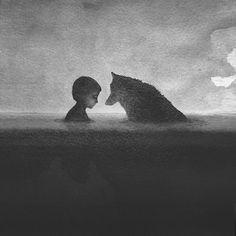 ALLPE Medio Ambiente Blog Medioambiente.org : Los niños y animales en blanco y negro de Elicia Elidanto
