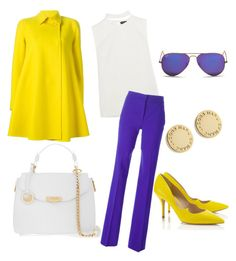"""""""Yellow & Purple"""" by cherea ❤ liked on Polyvore featuring Tom Ford, Emilio Pucci, Versace, Paul Andrew, Marc by Marc Jacobs and Ray-Ban"""