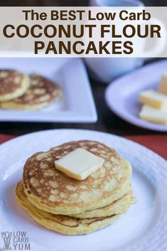 An easy recipe for fluffy gluten free low carb coconut flour pancakes. Such a ta… An easy recipe for fluffy gluten free low carb coconut flour pancakes. Such a tasty breakfast treat! Enjoy them with your favorite syrup or eat them plain. Coconut Flour Pancakes, Low Carb Pancakes, Gluten Free Pancakes, Low Carb Pancake Recipe Coconut Flour, Recipes Using Coconut Flour, Sugar Free Pancakes, Dessert Bars, Dessert Mousse, Pastas Recipes