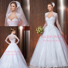 2014 New Style Sweetheart Ball Gown Wedding Dress White Lace Princess Wedding Dress With Long Sleeves Jacket