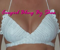 crochet wrap diaper | White crochet bikini top one size fits most by CowgirlBlingByShea