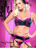 Leg Avenue 3 PC. Sexy Set Includes Padded Bra Top with Corset Style Lacing on Cups, Garter Belt with Fringe Trim & Matching G-string