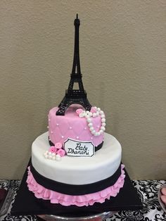 Paris theme baby shower cake Paris Birthday Cakes, Paris Themed Cakes, Paris Themed Birthday Party, Paris Cakes, Parisian Cake, Parisian Party, Paris Bridal Shower, Paris Baby Shower, Bolo Paris