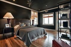 Contemporary master bedroom with wood floors and black theme design