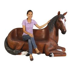 Saddle-Up Horse Bench Sculpture