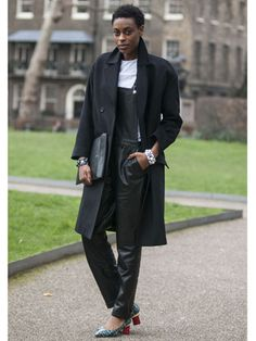 These shoes give this all-black 'fit an appropriate punch of color    Read more: Street Style at Fall 2013 London Fashion Week - LFW Street Style Pictures - Marie Claire