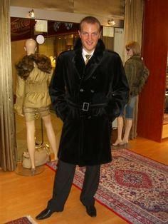 Men black mink coat