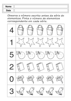 Atividades pre escolar - pré mourão Kindergarten Math Worksheets, Teacher Worksheets, Preschool Math, Teaching Activities, Worksheets For Kids, Math For Kids, Kids Education, Phonics, Kids Learning