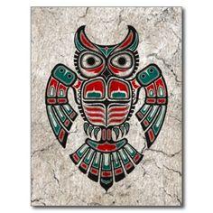 Cracked Red and Black Haida Spirit Owl Post Card