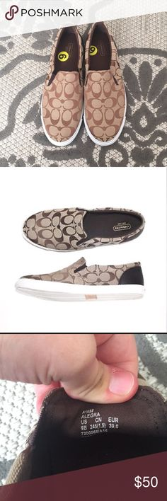 New coach flat slip on sneakers sz 9 brown white New without tags coach slip on sneakers. Size 9. Alegra is the name of the shoe. With brown c canvas print. Coach Shoes Sneakers