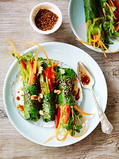 Thai-Style Veggie Rolls From Lorna Jane's New Fit-Woman Cookbook | You'll drool over these healthy recipes from the founder of fashionable activewear company, Lorna Jane! #SELFmagazine