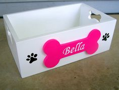 Painted Wooden Dog Toy Storage Box by SassyFrassStudio on Etsy, $45.00