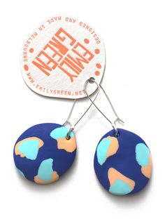 Emily Green INK BLUE, APRICOT & DUCK EGG BLUE PAINTERLY Drop Earrings