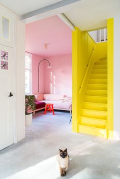 Visit this colorful + cheerful Dutch house Foyer Design Foyer Design, Entry Way Design, Deco Design, House Design, Yellow Home Decor, Yellow Interior, Yellow Wall Decor, Colorful Interiors, Colorful Interior Design