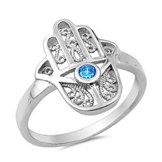 Hamsa Hand Evil Eye Ring 925 Sterling Silver Cubic Zirconia Band Sizes 510 8 -- Want to know more, click on the image.