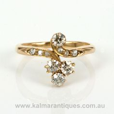 18ct Art Nouveau diamond ring from the 1890's.