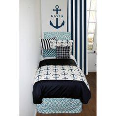 Coastal & Navy Nautical Designer Dorm Room Bedding Set. Designer headboard, custom pillows, exclusive bed scarf, window panels, wall art, bed skirts, tein/queen/king duvet and custom monogramming!! Perfect for college, apartment, or teen bedding!!