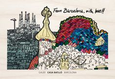 """#Postal Casa Batlló #Gaudí #woodenpostcards """"From Barcelona with love"""" 10 imatges disponibles 