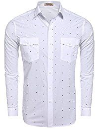Hotouch Men's Fashion Button Up Shirt Slim Fit Contrast Long Sleeve Casual Button Down Shirts Slim Fit Casual Shirts, Casual Button Down Shirts, Button Up Shirts, Men Casual, Dress Code Casual, Mens Clothing Styles, Men's Clothing, Buy Clothes Online, Long Sleeve Shirt Dress