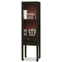 Elmwood Zen Bookcase. Simple in design, showcasing its Zen aesthetic, this bookcase is sure to make a great addition to your home. Slender in form, but offers plenty of shelving and storage space allowing you to display your favorite books or treasured collectibles. Curio display cabinets.