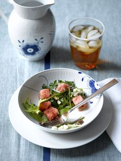 Thinking of summer - watermelon salad and iced tea!    Royal Copenhagen available at Michael C. Fina