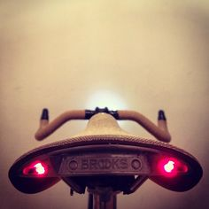 LED lights mounted on a brooks saddle