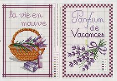 Lavender sprigs and basket with lavender cross stitch charts Cross Stitch Love, Cross Stitch Cards, Cross Stitch Flowers, Cross Stitch Designs, Cross Stitching, Cross Stitch Patterns, Lavender Crafts, Lavender Bags, Lavender Flowers