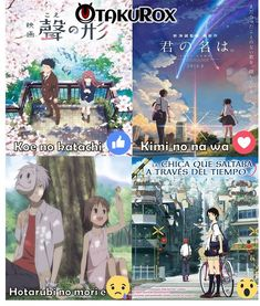 Anime movies to watch if you want. Shape of voice. The forest where fire flies light. The girl who traveled through time. That's in order going top left over then down left over Otaku Anime, Manga Anime, Fanarts Anime, Animes To Watch, Anime Watch, Anime Titles, Anime Characters, Manhwa, Best Romance Anime