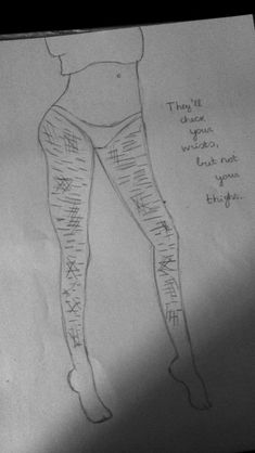 I cut my thighs. I cut today Easy Drawings For Beginners, Easy Drawings For Kids, Flirting Quotes, Sad Quotes, Sad Drawings, Pencil Drawings, Depression Quotes, How I Feel, Sketchbooks