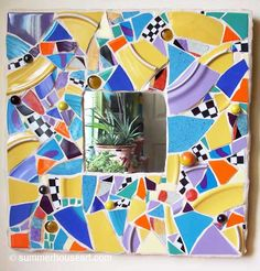 Abstract Mirror in Pique Assiette mosaic by Helen Bushell at summerhouseart.com