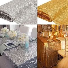 New Silver Sequin Table Cloth Wedding Event Party Banquet Decor. This common glitz/sequin tablecloth will set the perfect mood for a wedding/event/party/banquets. Give your occasion area a touch of fanstic and shinny with this sequin Tablecloth. Wedding Tablecloths, Wedding Table Linens, Cheap Tablecloths, Party Table Decorations, Wedding Decorations, New Years Eve Party Ideas Decorations Diy, Party Tables, Decoration Party, Reception Table