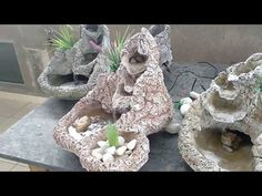 Jute Crafts, Cement Crafts, Handmade Crafts, Fairy Fountain, Rock Fountain, Outdoor Water Features, Organic Horticulture, Tabletop Fountain, Bonsai Art