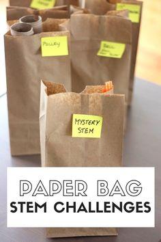 Paper bag STEM challenges week of STEM activities for kids