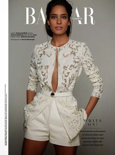 """White On"" Lisa Haydon by Suresh Natarajan for Harper's Bazaar India April 2014"
