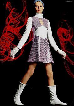 Silver metallic mini dress and boots. 1960s