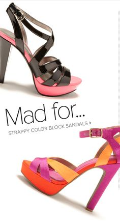 THESE!  I especially love the strappy black heel with the pink accent!