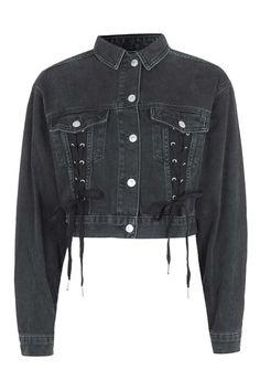 MOTO Lace up Crop Jacket - Denim - Clothing - Topshop USA