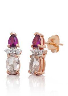Belk  Co.  Morganite Rhodolite Garnet and Diamond Earrings in 14k Rose