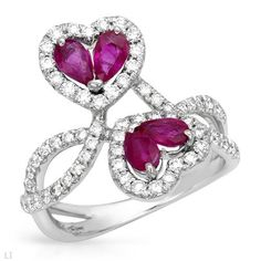 Diamond and ruby hearts. Beautiful #ring.