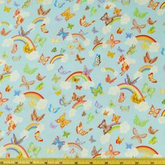 Princess Tea Party Butterflies Rainbows Clouds Sky 100% Cotton Fabric