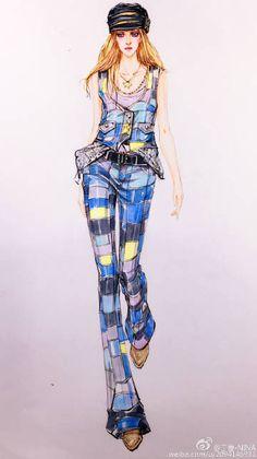 微博 Fashion Design Sketchbook, Fashion Design Portfolio, Fashion Design Drawings, Fashion Sketches, Only Fashion, Fashion Tips, Fashion Illustration Dresses, Fashion Artwork, Beachwear Fashion