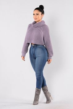 Available in Ivory and Lavender Cropped Sweater Cowl Neck Thick Knit Material Long Sleeve Loose Fit 100% Acrylic